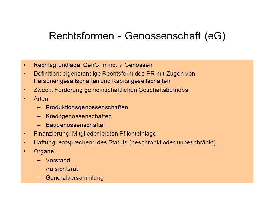 Rechtsformen - Genossenschaft (eG) Rechtsgrundlage: GenG, mind. 7 Genossen Definition: eigenständige Rechtsform des PR mit Zügen von Personengesellsch