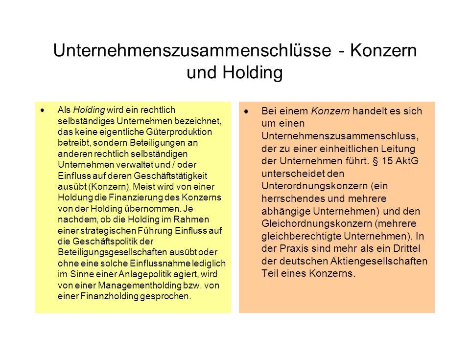 Unternehmenszusammenschlüsse - Konzern und Holding Als Holding wird ein rechtlich selbständiges Unternehmen bezeichnet, das keine eigentliche Güterpro