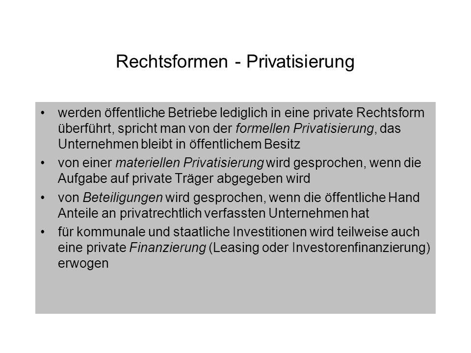 Rechtsformen - Privatisierung werden öffentliche Betriebe lediglich in eine private Rechtsform überführt, spricht man von der formellen Privatisierung