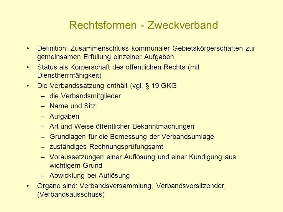 Rechtsformen - Zweckverband Definition: Zusammenschluss kommunaler Gebietskörperschaften zur gemeinsamen Erfüllung einzelner Aufgaben Status als Körpe