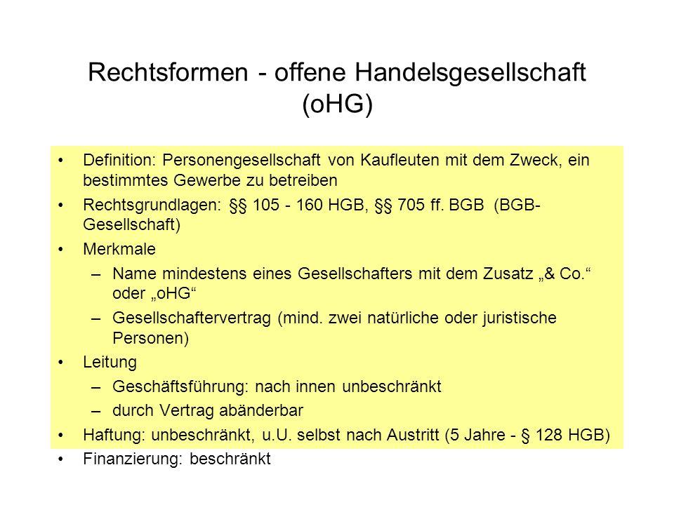 Rechtsformen - Genossenschaft (eG) Rechtsgrundlage: GenG, mind.