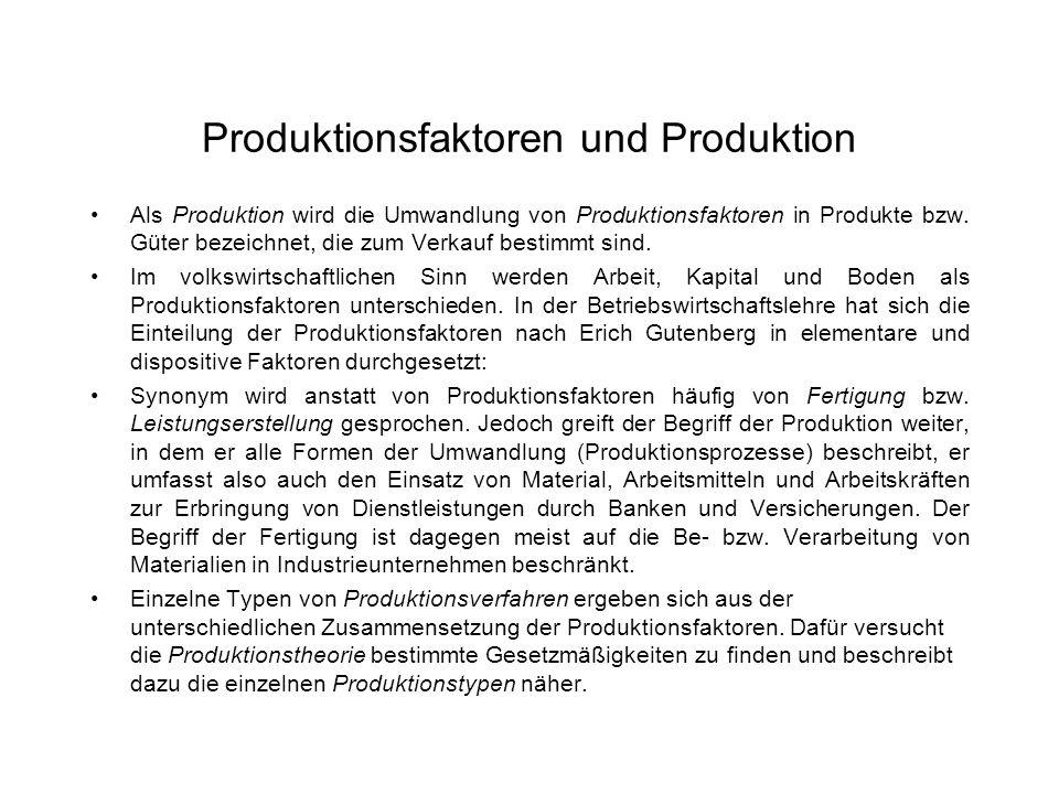 Produktionsfaktoren und Produktion Als Produktion wird die Umwandlung von Produktionsfaktoren in Produkte bzw. Güter bezeichnet, die zum Verkauf besti