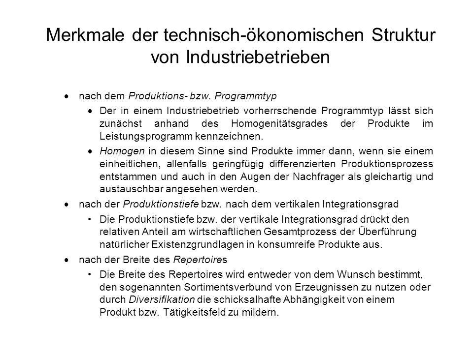 Merkmale der technisch-ökonomischen Struktur von Industriebetrieben nach dem Produktions- bzw. Programmtyp Der in einem Industriebetrieb vorherrschend