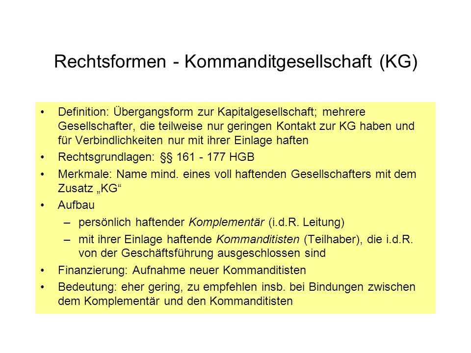 Rechtsformen - Kommanditgesellschaft (KG) Definition: Übergangsform zur Kapitalgesellschaft; mehrere Gesellschafter, die teilweise nur geringen Kontak