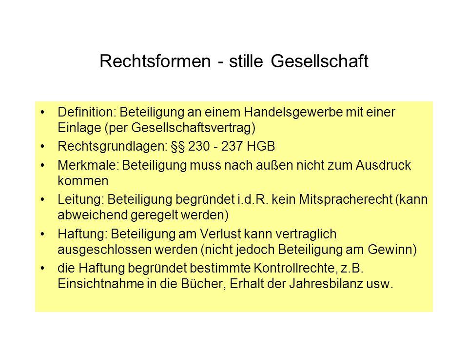 Rechtsformen - Aktiengesellschaft Definition: Kapitalgesellschaft mit eigener Rechtspersönlichkeit, hoher Kapitalbedarf Bedeutung: groß (VW, Siemens usw.), ca.