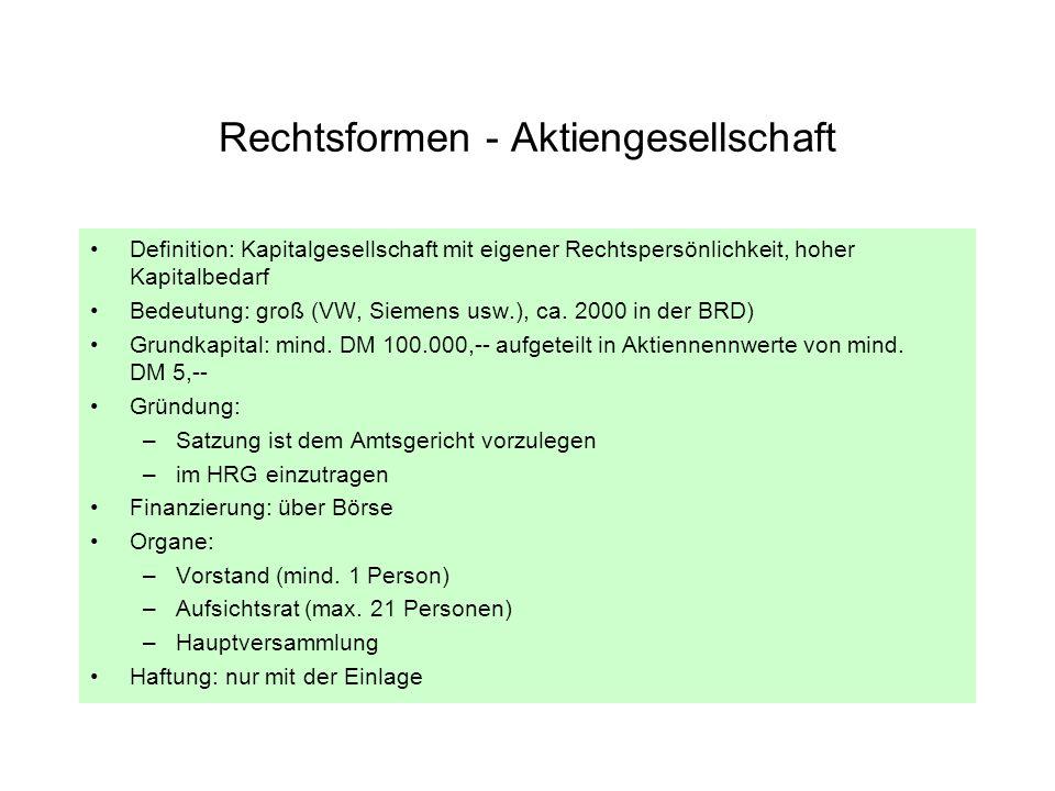 Rechtsformen - Aktiengesellschaft Definition: Kapitalgesellschaft mit eigener Rechtspersönlichkeit, hoher Kapitalbedarf Bedeutung: groß (VW, Siemens u