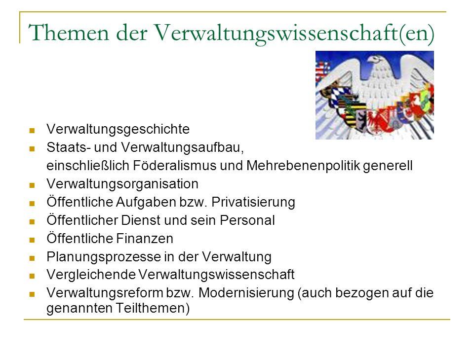 Themen der Verwaltungswissenschaft(en) Verwaltungsgeschichte Staats- und Verwaltungsaufbau, einschließlich Föderalismus und Mehrebenenpolitik generell