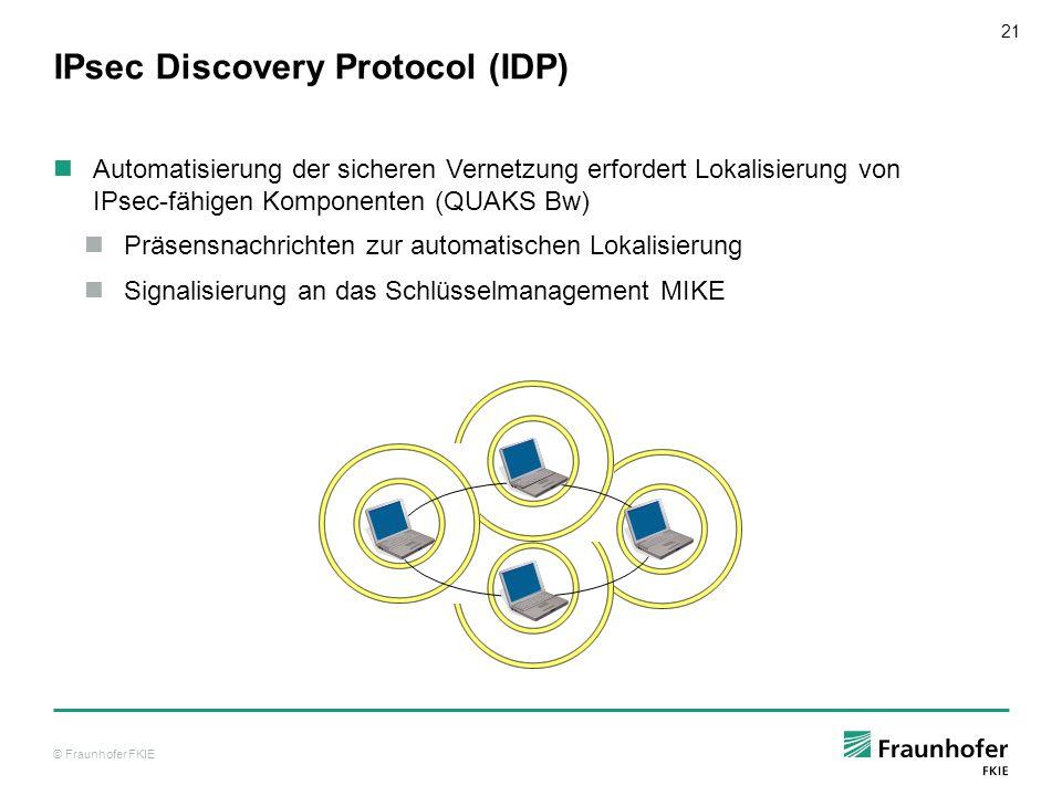 © Fraunhofer FKIE 21 IPsec Discovery Protocol (IDP) Automatisierung der sicheren Vernetzung erfordert Lokalisierung von IPsec-fähigen Komponenten (QUA
