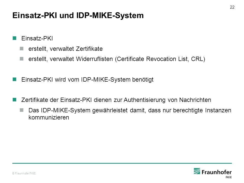 © Fraunhofer FKIE 22 Einsatz-PKI und IDP-MIKE-System Einsatz-PKI erstellt, verwaltet Zertifikate erstellt, verwaltet Widerruflisten (Certificate Revoc