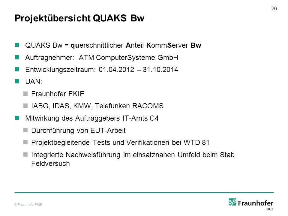 © Fraunhofer FKIE 26 Projektübersicht QUAKS Bw QUAKS Bw = querschnittlicher Anteil KommServer Bw Auftragnehmer: ATM ComputerSysteme GmbH Entwicklungsz