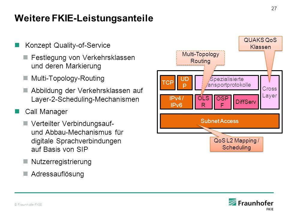 © Fraunhofer FKIE 27 Weitere FKIE-Leistungsanteile Konzept Quality-of-Service Festlegung von Verkehrsklassen und deren Markierung Multi-Topology-Routi
