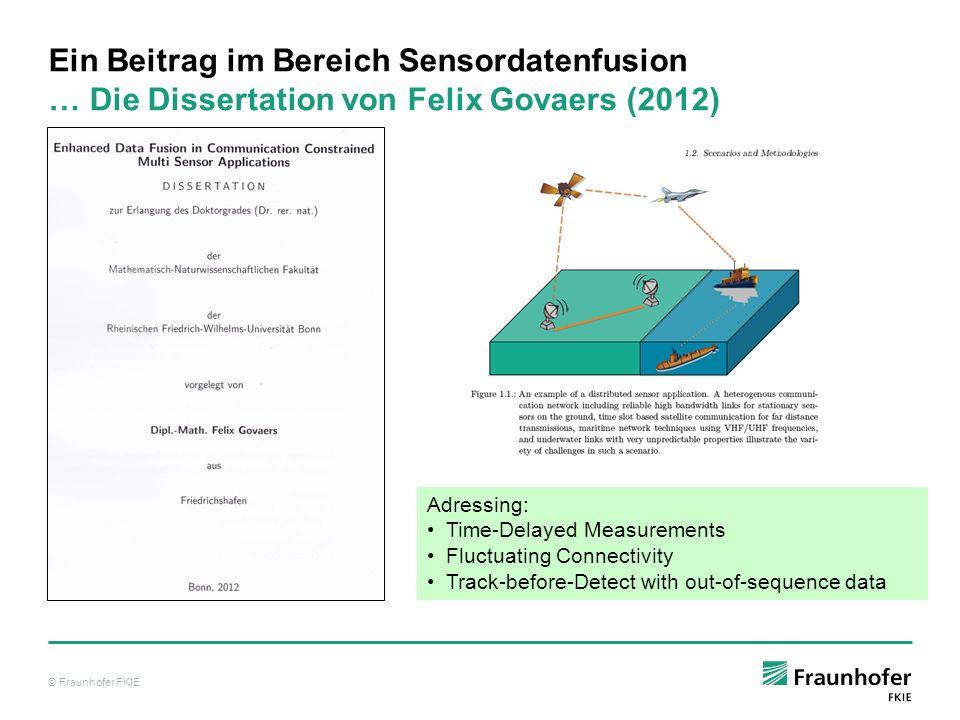 © Fraunhofer FKIE Ein Beitrag im Bereich Sensordatenfusion … Die Dissertation von Felix Govaers (2012) Adressing: Time-Delayed Measurements Fluctuatin
