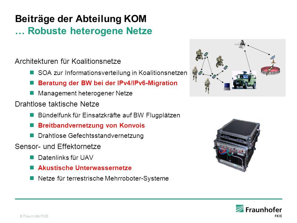 © Fraunhofer FKIE Architekturen für Koalitionsnetze SOA zur Informationsverteilung in Koalitionsnetzen Beratung der BW bei der IPv4/IPv6-Migration Man