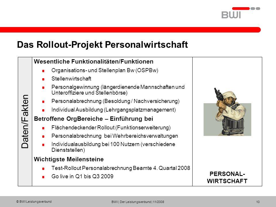© BWI Leistungsverbund BWI | Der Leistungsverbund | 11/2008 10 Das Rollout-Projekt Personalwirtschaft Wesentliche Funktionalitäten/Funktionen Organisa
