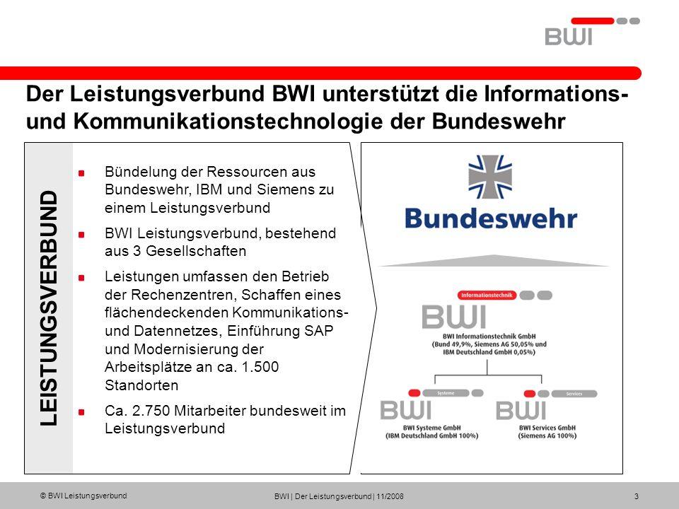 © BWI Leistungsverbund BWI | Der Leistungsverbund | 11/2008 3 Der Leistungsverbund BWI unterstützt die Informations- und Kommunikationstechnologie der