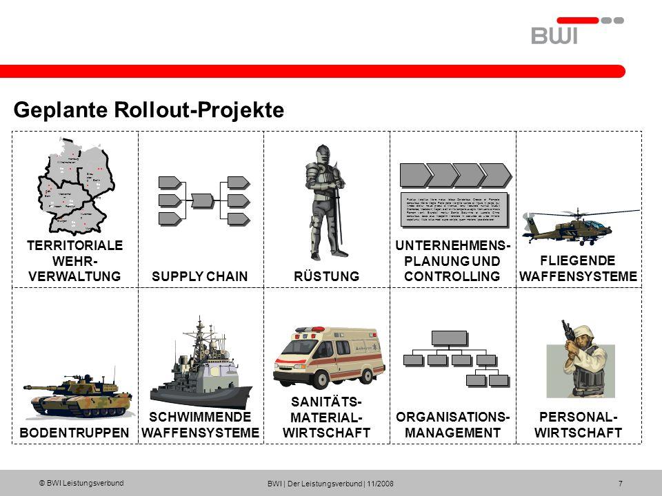 © BWI Leistungsverbund BWI | Der Leistungsverbund | 11/2008 8 Das Rollout-Projekt TerrWv Wesentliche Funktionalitäten/Funktionen Prozesse der Zahlbarmachung Prozesse zur Verwaltung der Infrastruktur inkl.