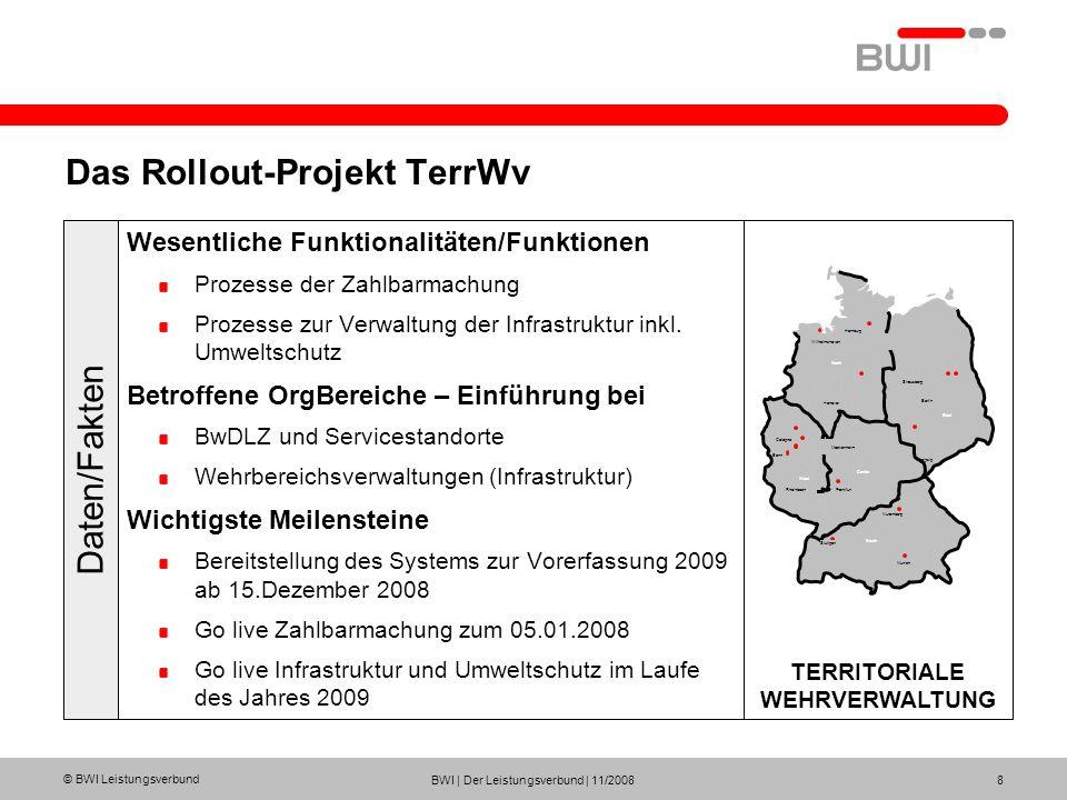 © BWI Leistungsverbund BWI | Der Leistungsverbund | 11/2008 8 Das Rollout-Projekt TerrWv Wesentliche Funktionalitäten/Funktionen Prozesse der Zahlbarm