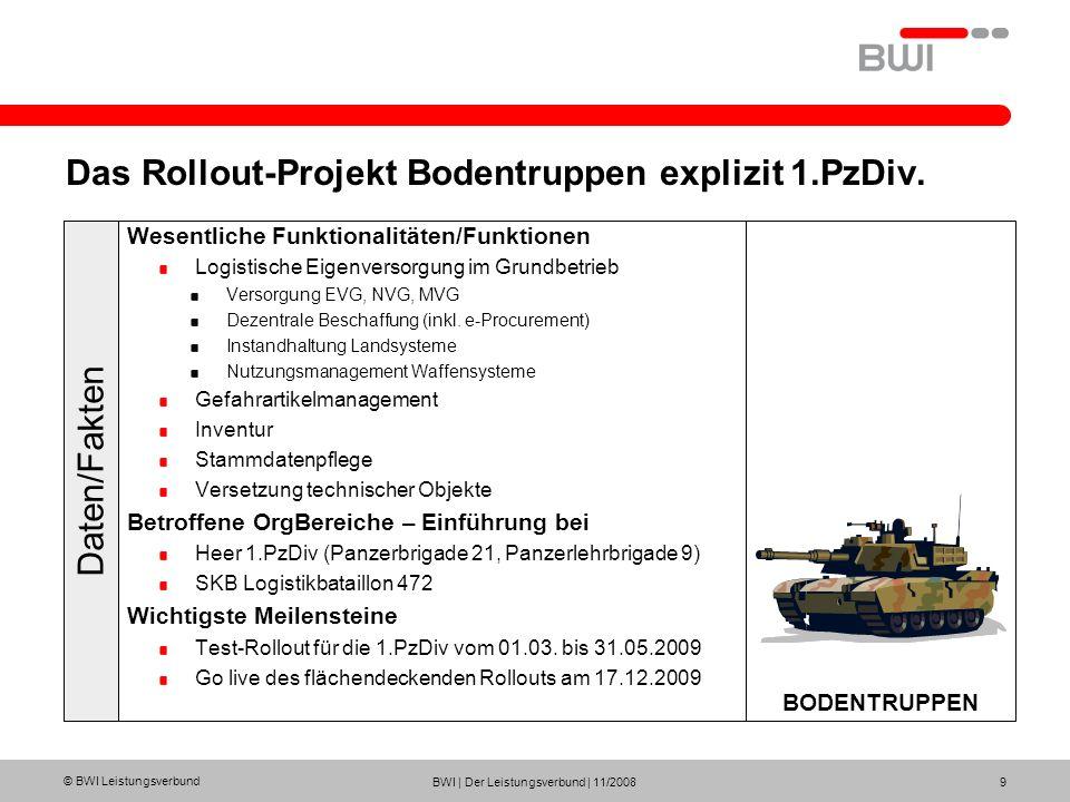 © BWI Leistungsverbund BWI | Der Leistungsverbund | 11/2008 9 Das Rollout-Projekt Bodentruppen explizit 1.PzDiv. Wesentliche Funktionalitäten/Funktion