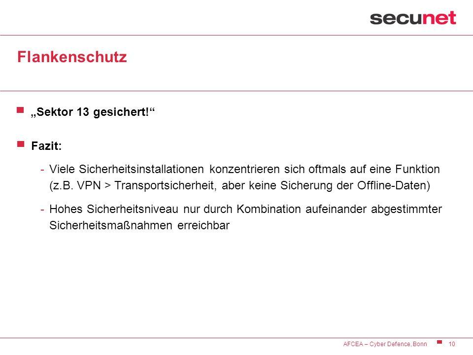 10 AFCEA – Cyber Defence, Bonn Flankenschutz Sektor 13 gesichert! Fazit: -Viele Sicherheitsinstallationen konzentrieren sich oftmals auf eine Funktion