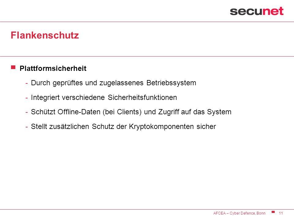 11 AFCEA – Cyber Defence, Bonn Flankenschutz Plattformsicherheit -Durch geprüftes und zugelassenes Betriebssystem -Integriert verschiedene Sicherheits