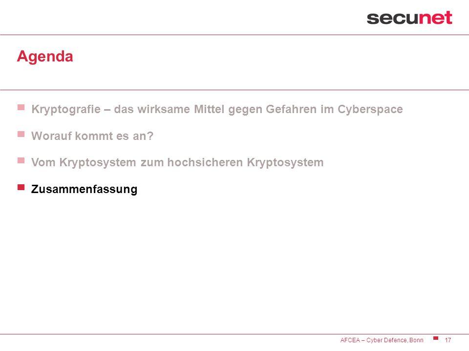 17 AFCEA – Cyber Defence, Bonn Agenda Kryptografie – das wirksame Mittel gegen Gefahren im Cyberspace Worauf kommt es an? Vom Kryptosystem zum hochsic