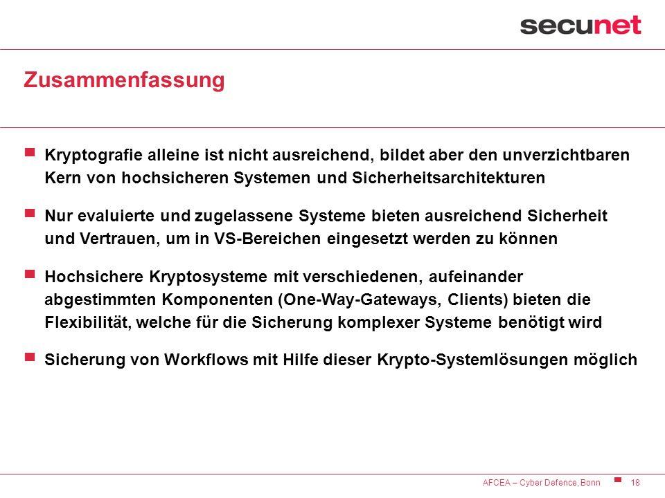 18 AFCEA – Cyber Defence, Bonn Zusammenfassung Kryptografie alleine ist nicht ausreichend, bildet aber den unverzichtbaren Kern von hochsicheren Syste