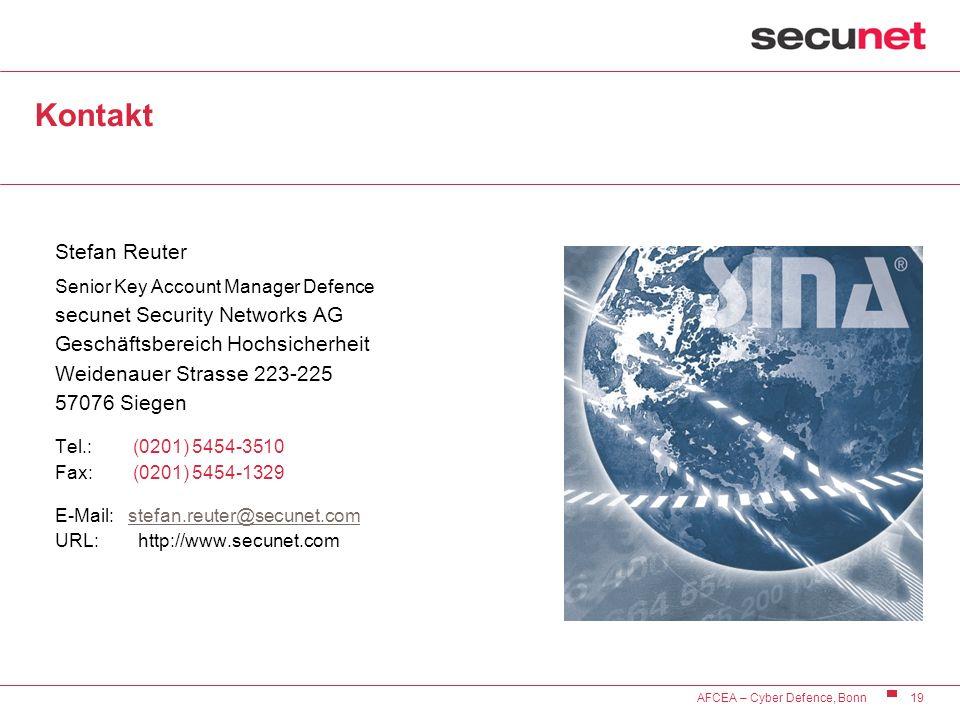 19 AFCEA – Cyber Defence, Bonn Kontakt Stefan Reuter Senior Key Account Manager Defence secunet Security Networks AG Geschäftsbereich Hochsicherheit W