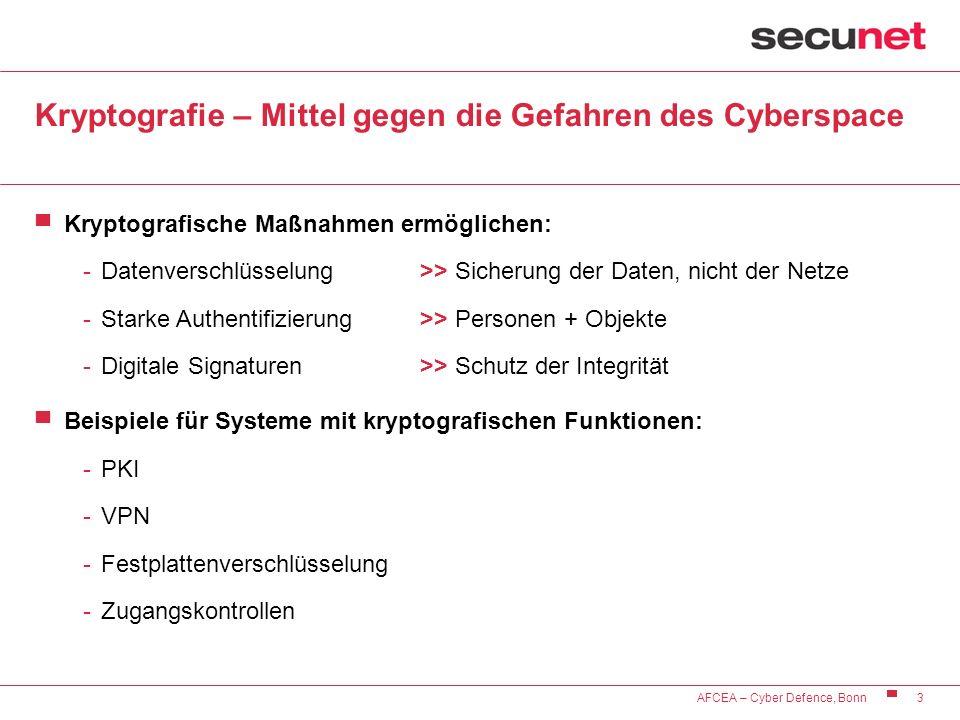 3 AFCEA – Cyber Defence, Bonn Kryptografie – Mittel gegen die Gefahren des Cyberspace Kryptografische Maßnahmen ermöglichen: -Datenverschlüsselung >>