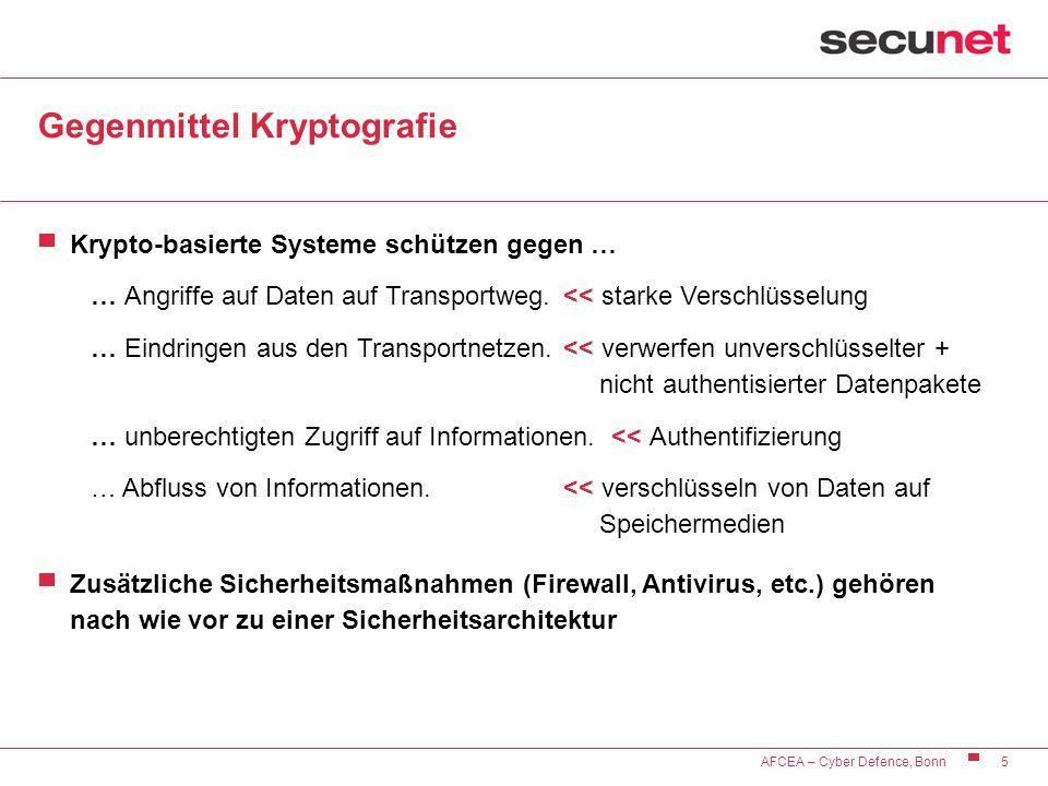 5 AFCEA – Cyber Defence, Bonn Gegenmittel Kryptografie Krypto-basierte Systeme schützen gegen … … Angriffe auf Daten auf Transportweg. << starke Versc