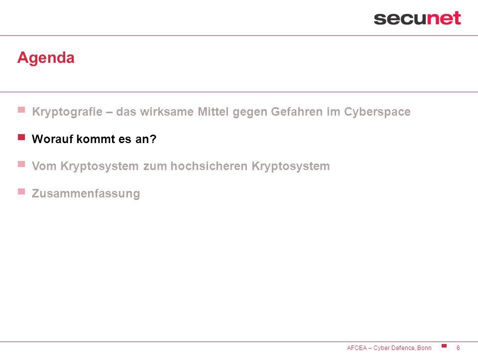 6 AFCEA – Cyber Defence, Bonn Agenda Kryptografie – das wirksame Mittel gegen Gefahren im Cyberspace Worauf kommt es an? Vom Kryptosystem zum hochsich