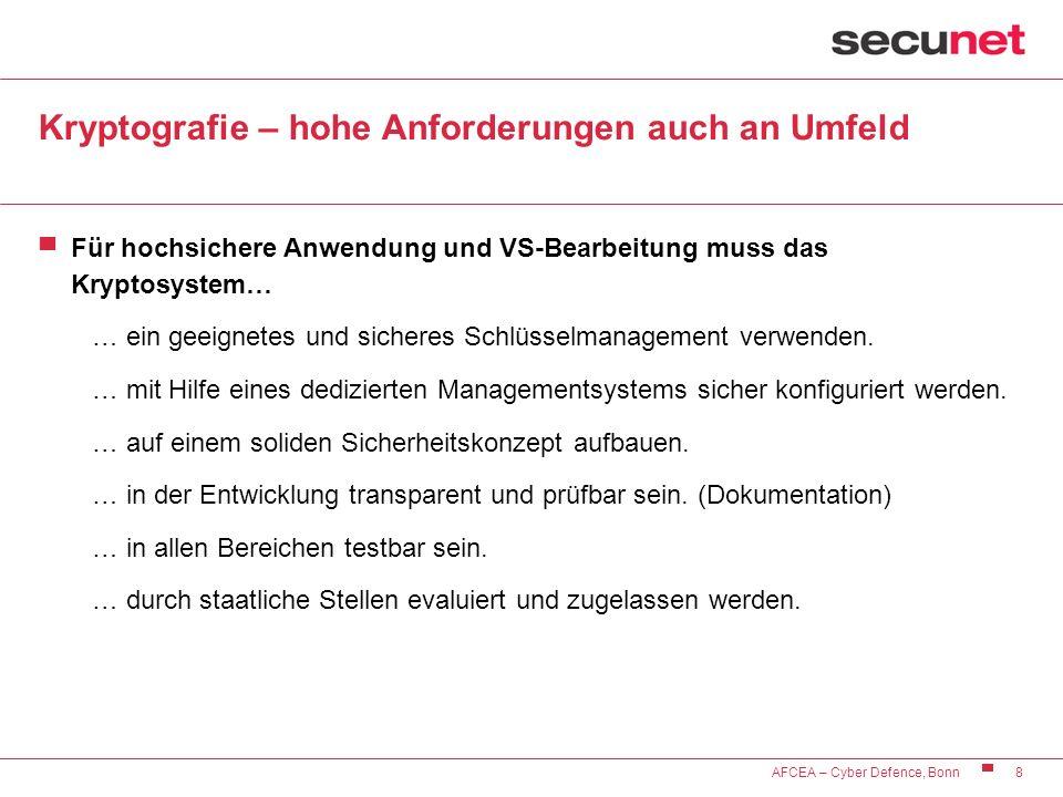 8 AFCEA – Cyber Defence, Bonn Kryptografie – hohe Anforderungen auch an Umfeld Für hochsichere Anwendung und VS-Bearbeitung muss das Kryptosystem… … e