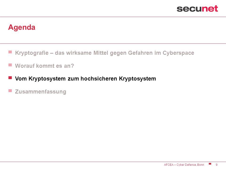 9 AFCEA – Cyber Defence, Bonn Agenda Kryptografie – das wirksame Mittel gegen Gefahren im Cyberspace Worauf kommt es an? Vom Kryptosystem zum hochsich