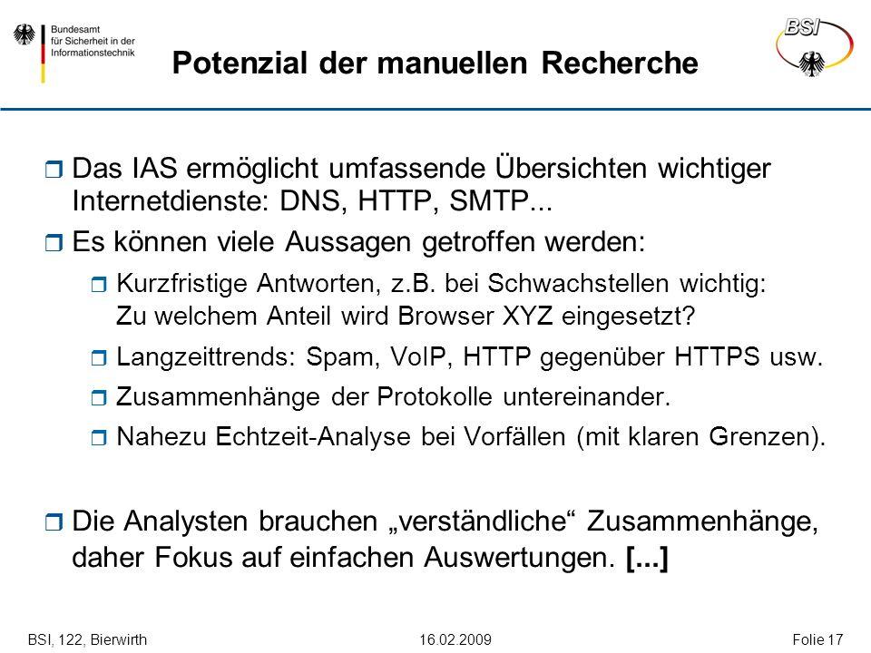BSI, 122, Bierwirth 16.02.2009Folie 17 Potenzial der manuellen Recherche Das IAS ermöglicht umfassende Übersichten wichtiger Internetdienste: DNS, HTT