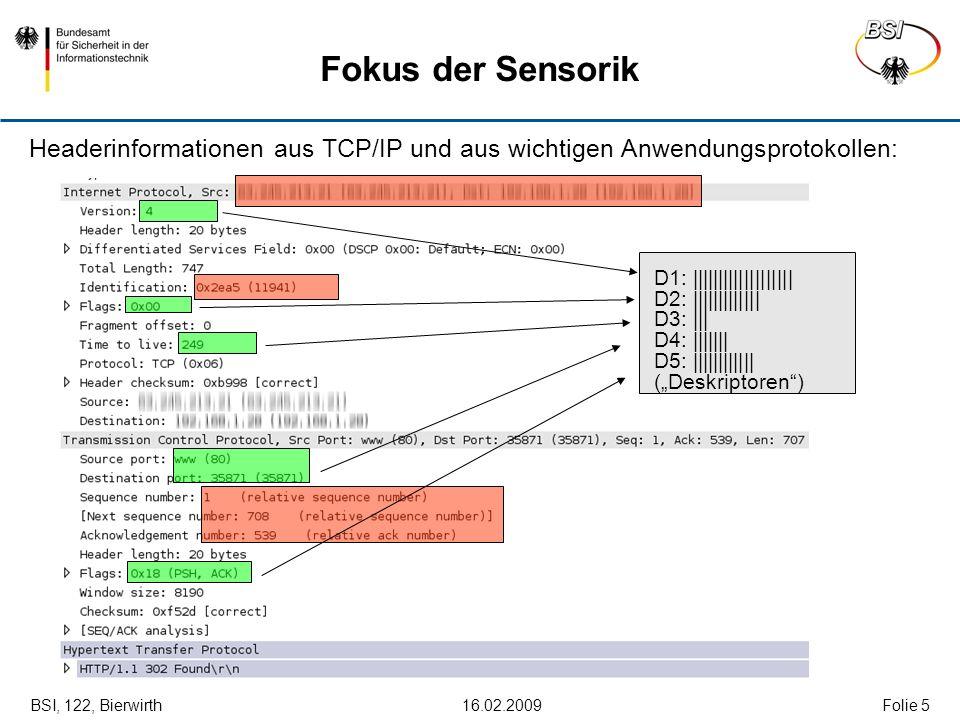 BSI, 122, Bierwirth 16.02.2009Folie 5 Fokus der Sensorik Headerinformationen aus TCP/IP und aus wichtigen Anwendungsprotokollen: D1: |||||||||||||||||