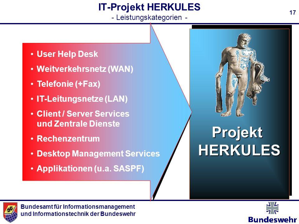 Bundesamt für Informationsmanagement und Informationstechnik der Bundeswehr 17 ProjektHERKULES IT-Projekt HERKULES - Leistungskategorien - User Help D