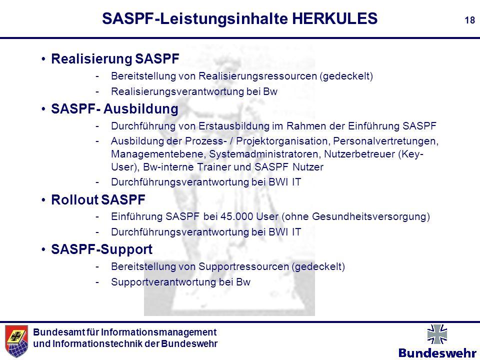 Bundesamt für Informationsmanagement und Informationstechnik der Bundeswehr 18 SASPF-Leistungsinhalte HERKULES Realisierung SASPF -Bereitstellung von