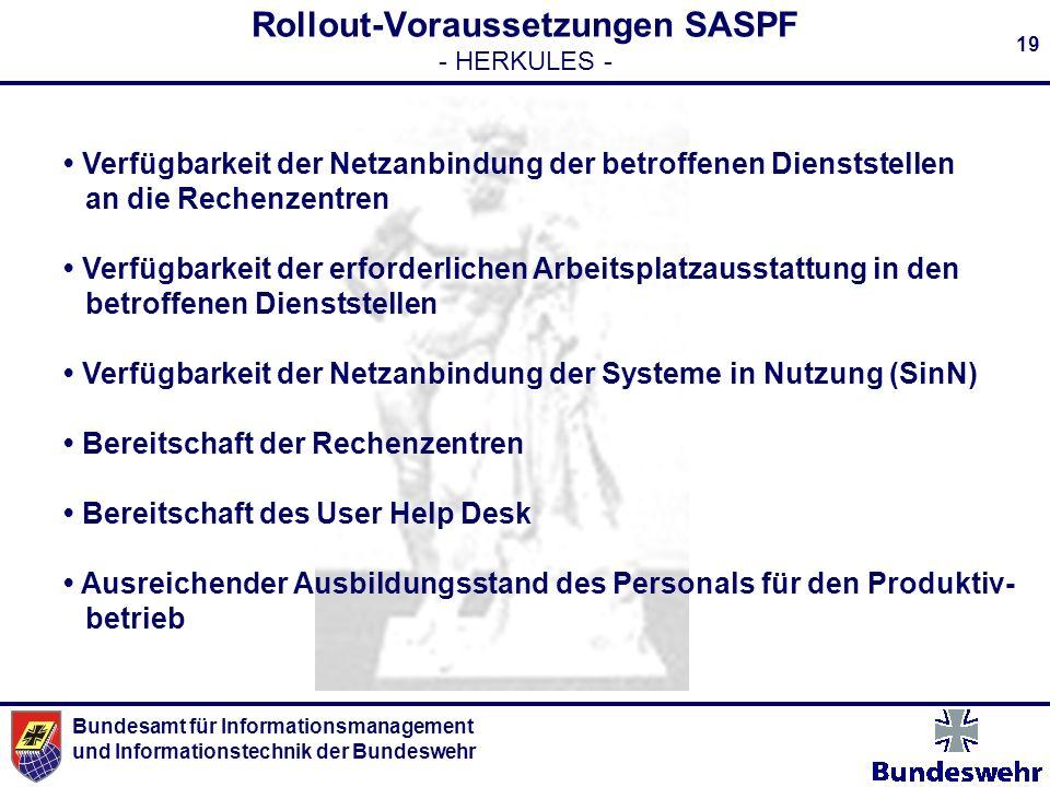 Bundesamt für Informationsmanagement und Informationstechnik der Bundeswehr 19 Rollout-Voraussetzungen SASPF - HERKULES - Verfügbarkeit der Netzanbind