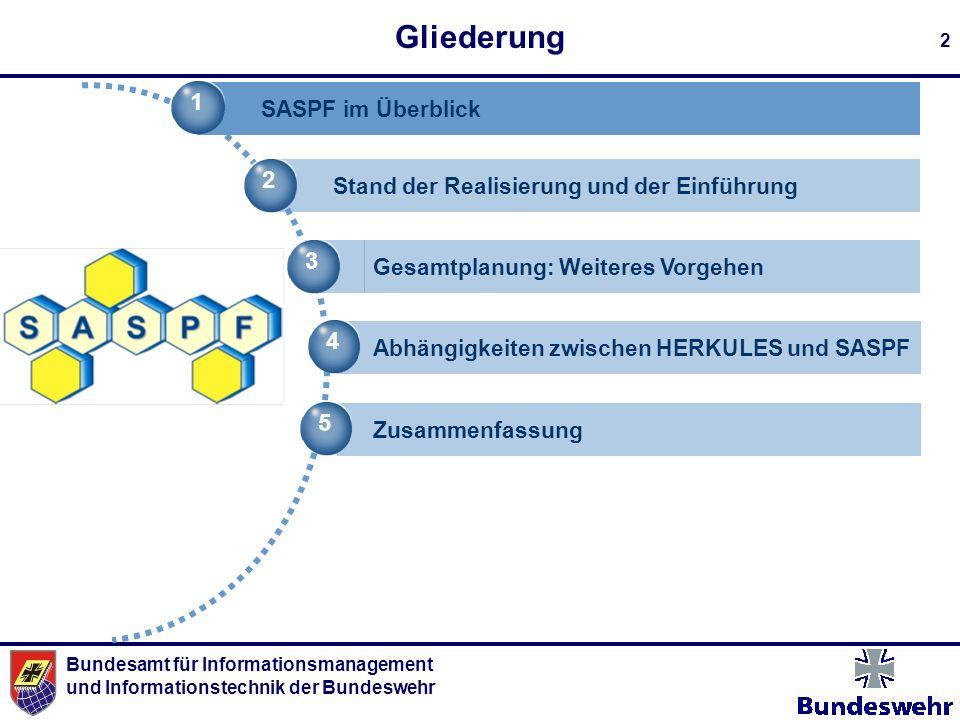 Bundesamt für Informationsmanagement und Informationstechnik der Bundeswehr 2 Gliederung 1 SASPF im Überblick 2 Stand der Realisierung und der Einführ