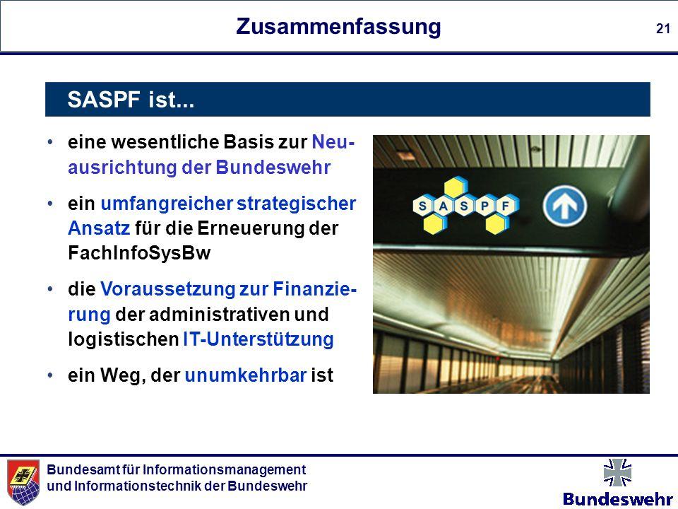 Bundesamt für Informationsmanagement und Informationstechnik der Bundeswehr 21 Zusammenfassung eine wesentliche Basis zur Neu- ausrichtung der Bundesw