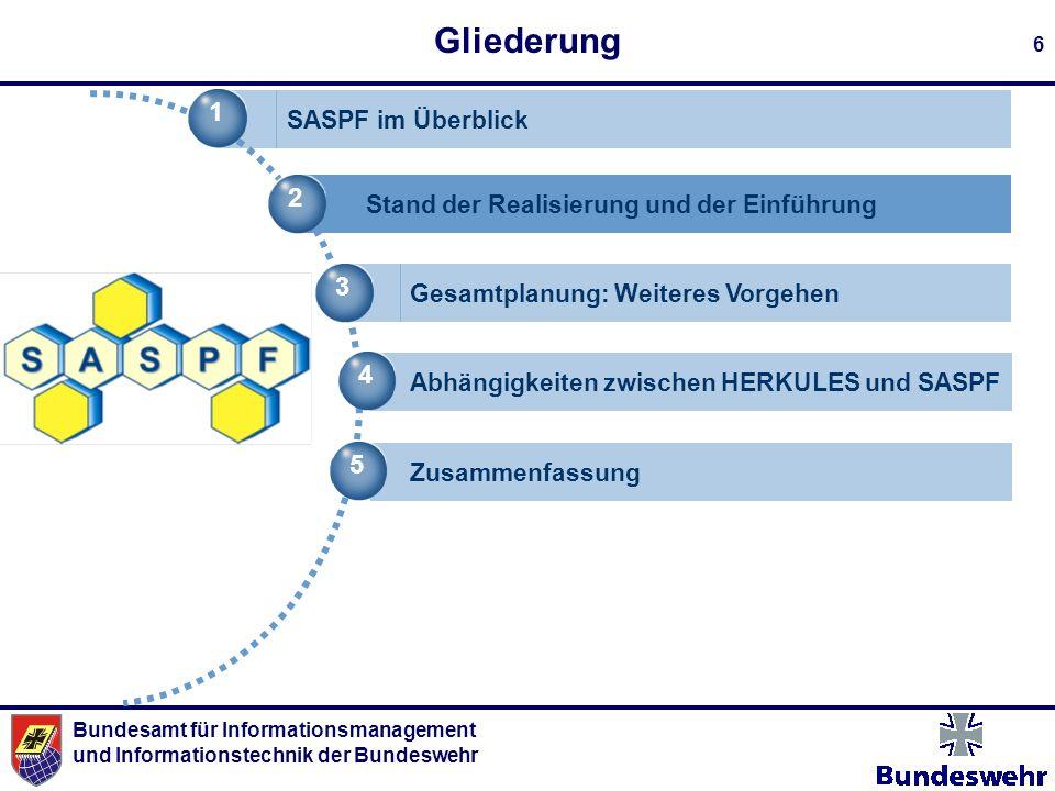 Bundesamt für Informationsmanagement und Informationstechnik der Bundeswehr 6 Gliederung 1 SASPF im Überblick 2 Stand der Realisierung und der Einführ