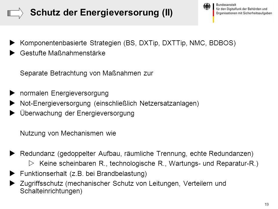 19 Schutz der Energieversorung (II) Komponentenbasierte Strategien (BS, DXTip, DXTTip, NMC, BDBOS) Gestufte Maßnahmenstärke Separate Betrachtung von M