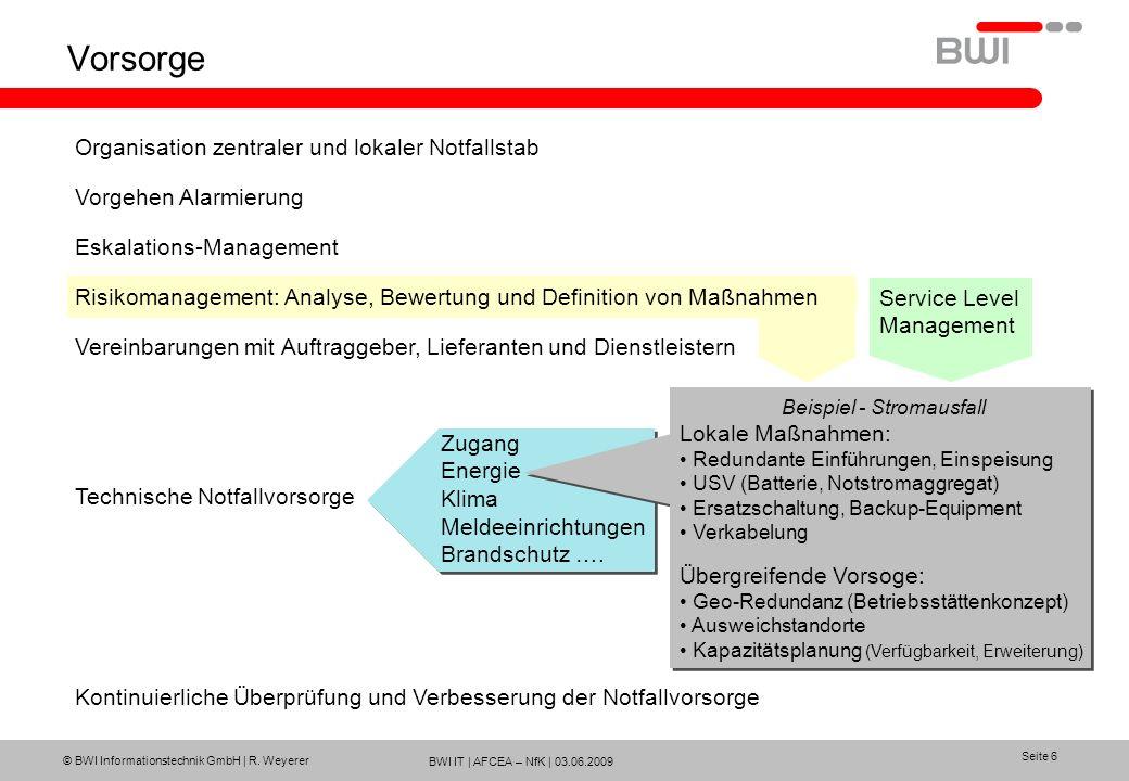 BWI IT | AFCEA – NfK | 03.06.2009 © BWI Informationstechnik GmbH | R. Weyerer Seite 6 Vorsorge Organisation zentraler und lokaler Notfallstab Vorgehen