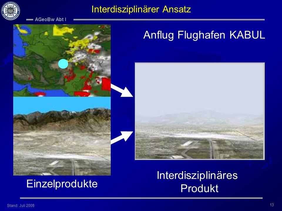 Stand: Juli 2008 AGeoBw Abt I 13 Interdisziplinäres Produkt Anflug Flughafen KABUL Interdisziplinärer Ansatz Einzelprodukte