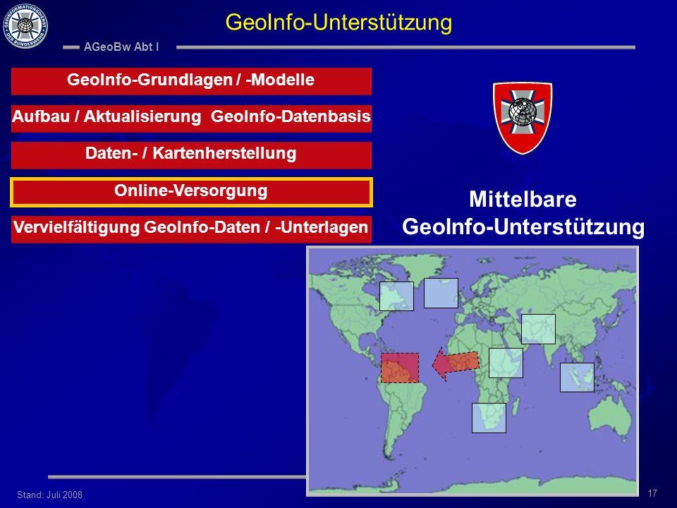 Stand: Juli 2008 AGeoBw Abt I 17 Aufbau / Aktualisierung GeoInfo-Datenbasis Vervielfältigung GeoInfo-Daten / -Unterlagen Online-Versorgung Daten- / Ka
