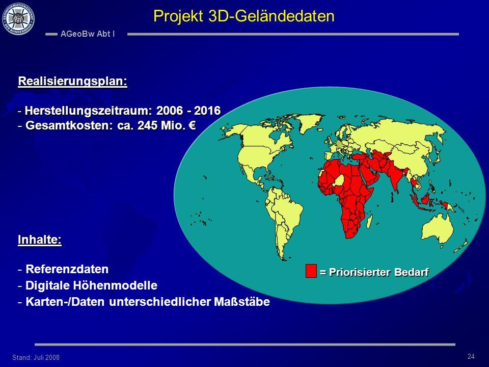 Stand: Juli 2008 AGeoBw Abt I 24 Projekt 3D-Geländedaten Realisierungsplan: - Herstellungszeitraum: 2006 - 2016 - Gesamtkosten: ca. 245 Mio. - Gesamtk