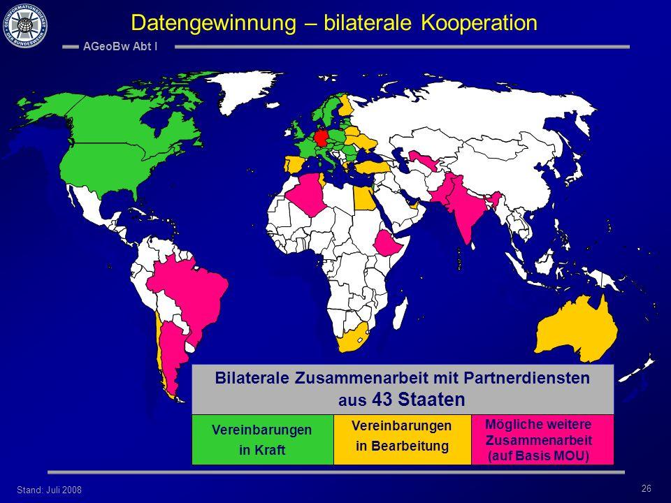 Stand: Juli 2008 AGeoBw Abt I 26 Bilaterale Zusammenarbeit mit Partnerdiensten aus 43 Staaten Vereinbarungen in Kraft Mögliche weitere Zusammenarbeit