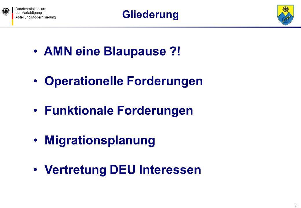 Bundesministerium der Verteidigung Abteilung Modernisierung 2 AMN eine Blaupause ?! Operationelle Forderungen Funktionale Forderungen Migrationsplanun