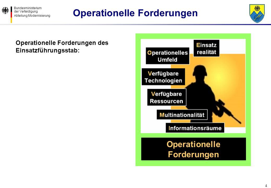Bundesministerium der Verteidigung Abteilung Modernisierung 4 Operationelle Forderungen Operationelle Forderungen des Einsatzführungsstab: Operationel