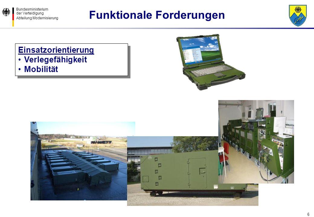 Bundesministerium der Verteidigung Abteilung Modernisierung 6 Einsatzorientierung Verlegefähigkeit Mobilität Einsatzorientierung Verlegefähigkeit Mobi