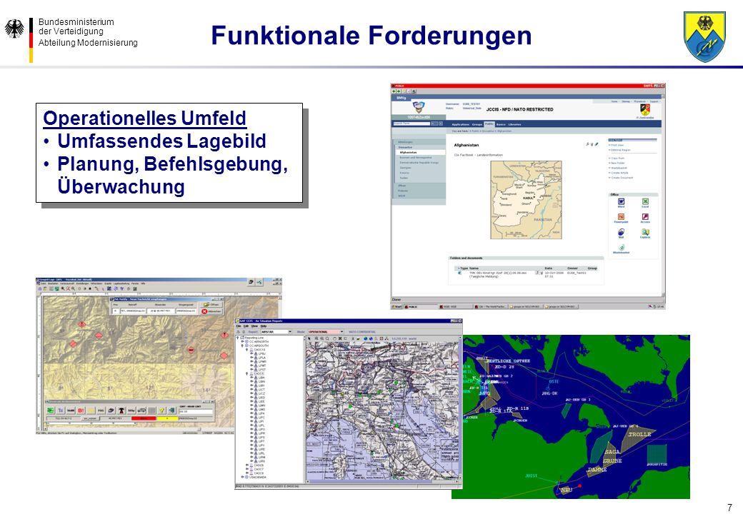 Bundesministerium der Verteidigung Abteilung Modernisierung 7 Operationelles Umfeld Umfassendes Lagebild Planung, Befehlsgebung, Überwachung Operation